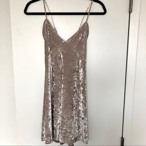 Grey Crushed Velvet Dress